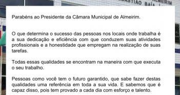 Homenagem dos servidores da Câmara Municipal de Almeirim ao presidente Otacílio França Alves pela passagem de seu aniversário
